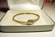 Gorgeous 14k Yellow Gold Bangle W/3 Round Diamonds And Small Baguettes 1.1/2 Tcw