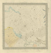 Astronomy Celestial Star Map Chart 6 South Pole. Sduk 1874 Old Antique