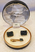 Swank International Collection Hand Carved Jade Cuff Links And Tie Pin Nos Nib