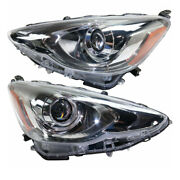 For 15-17 Prius C Front Projector Headlight Headlamp Led Head Light Set Pair