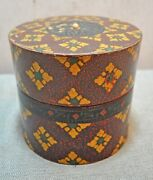 Original Old Antique Hand Carved Fine Lacquer Painted Wooden Round Box