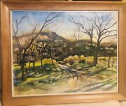 """Stunning Landscape Original Watercolor Painting By Signe Larson 1957— 27""""x22"""""""