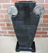 Vintage Tessellated Black Marble Urn Planter Hand Made Philippines