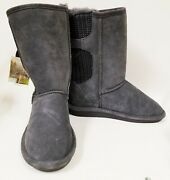 New Bearpaw Gray Soft Genuine Sheep Suede+wool,buckles Shoes Boots Size 9,40