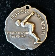 Antique Sterling Silver Rutgers University 1928 Swimming Medal - 200 Yds Relay S