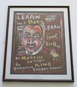 Grandpa Smoky Brown Outsider Folk Art Martin Luther King Painting 1919-2005