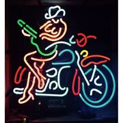 New Motorcycle Cowgirl Artwork Real Glass Neon Sign 32x24 Beer Lamp Light