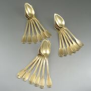 Antiqueandnbspfrench Sterling Silver Vermeil Gold Wash Coffee Tea Spoons 1830and039s 18 Pcs