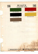 1946 1947 Willys Civilian Jeep Cj-2a Cj-3a Paint Chips 46sherwin Williams 5pclge