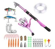 Ladies Telescopic Fishing Rod And Reel Combos,spinning Pole Pink Designed...