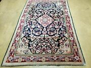 4' X 6' Antique Hand Made India Floral Oriental Wool Rug Carpet Organic Blue