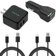 4-in-1 Adaptive Fast Home Car Charger 6ft Long Two Usb N1h For Phone / Tablets