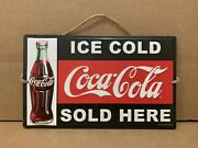 Coca Cola Ice Cold Sold Here Metal Wall Decor Bottle Vintage Style Gas Oil Bar