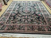 8and039 X 10and039 Vintage Hand Made Chinese Floral Oriental Wool Rug Carpet Flowers Green