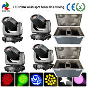 Spot Beam 200w Led Moving Head Light 3in1 Wash Effect Dj Stage 4pcs Flight Case