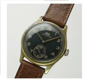 Auguste Reymond German Army Black Dial Small Second 1940and039s Manual Winding Watch