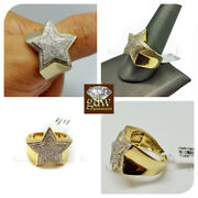 Real New 10k Yellow Gold Men's Star Shaped Casual Pinky Ring With Real Diamonds.