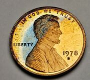 1978-s Lincoln Memorial Proof Cent Penny Nice Blue Crescent Color Toning Obverse
