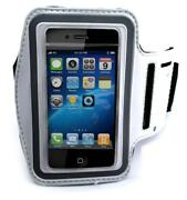 White Armband Sports Gym Workout Cover Case Arm Strap X1c For Smartphones