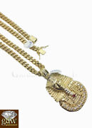 Real 10k Gold Menand039s Egyptian Pharaoh Charm28 Inch Miami Cuban Chainfrancorope