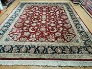 8and039 X 10and039 Vintage Hand Made India Floral Wool Silk Accents Rug Organic Veg Dyes
