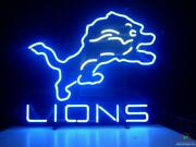 New Detroit Lions Real Glass Bar Beer Neon Light Sign 24x20