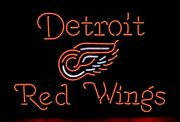 New Detroit Red Wings Real Glass Bar Beer Neon Light Sign 24x20