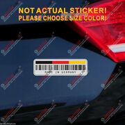 German Flag Barcode Made In Germany Decal Sticker Car Vinyl Reflective Glossy
