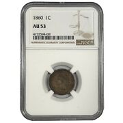 1860 United States Indian Head Cent Penny Au 53