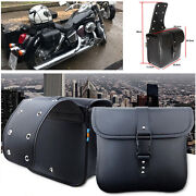 Pair Waterproof Motorcycle Pu Leather Saddle Bags Storage Kits Pouch Leftandright