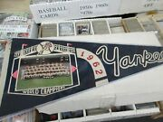 1962 Ny Yankees Vintage Pennant W/ Team Photo Clean World Champions