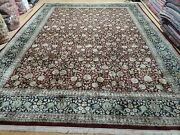 9and039 X 12and039 Vintage Chinese Floral Oriental Hand Made Wool Rug Burgundy Nice