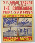 Rare 1968 Sf Mime Troupe Poster Geary Temple The Condemned