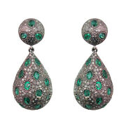 Emerald Natural Diamond Pave Vintage Style Earrings 925 Sterling Silver Jewelry