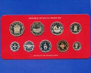 1976 Malta 9 Coin Proof Set Made By Franklin Mint