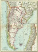 South America, South. Argentina Chile 1907 Old Antique Vintage Map Plan Chart