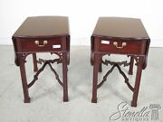 22434/22435ec Pair Chippendale Style Solid Mahogany Pembroke Tables