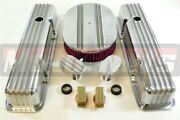 Sbc Chevy Nostalgic Aluminum Fin Tall Valve Covers 12 Washable Air Cleaner Kit
