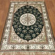 Yilong 4and039x6and039 Parlor Green Handmade Carpets Antique Hand Knotted Silk Rugs 381c