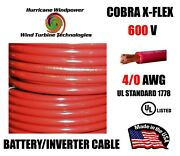 4/0 Cobra X-flex Battery/inverter Cable Ul Listed Red 600v Sold Per Foot