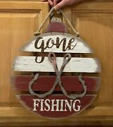 Gone Fishing Wood Sign Bobber Tackle Bait Lure Lake Boat Cabin Man Cave Beach