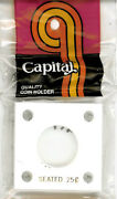 Capital Holder 2x2 Seated Quarter Coin White Acrylic Plastic Case With 4 Screws
