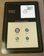 Franklin Mint Coin Sets Of All Nations - Cambodia 4 Coins And Stamp