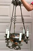 Antique French Japanese Imari Porcelain And Bronze 6 Arm Chandelier Lion Heads