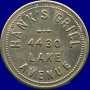 Hank's Grill 10 Cents In Drinks Coin Token 26 Mm 4.5 Grams