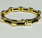 14k Solid Yellow Gold And Onyx Handmade Link Bracelet 8 40 Grams 11mm