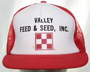 Vintage 80s Valley Feed And Seed Inc. Purina Trucker Hat Red Snapback Cap Ag Farm