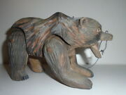 Reserved For Ben Rosh Swiss Articulated Tramp Folk Art Carved Wood Toy Bear