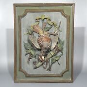 Antiqueandnbspfrench Hand Carved Painted Wooden Panel High Relief Still Life Partridge
