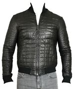 New Giorgio Armani Black Lambskin Croc Quilted Leather Jacket - Size 48/38